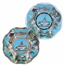 Pair of (2) Walt Disney World Lands & Attractions Scalloped Glass Plates.