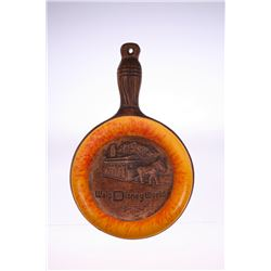 Ceramic Frying Pan Wall Decoration - Orange and Brown.