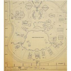 Epcot Center Site Plan Oversized Blueprint.