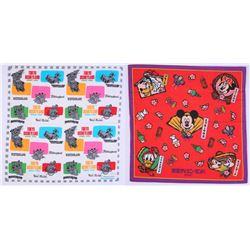 Pair of (2) Tokyo Disneyland Character Handkerchiefs.