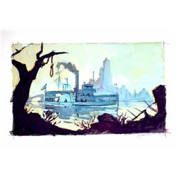 "Original ""Molly Brown Riverboat"" Concept Painting for Disneyland Paris."