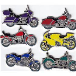 Set of 6 - 2007 Republic of Somalia Enameled Motorcycle Dollars