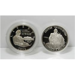 Pair of USA Commemorative Silver Half Dollar Coins - In Boxes, with COA's