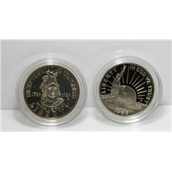 2 USA Commemorative Half Dollar Coins - 1986 & 1989