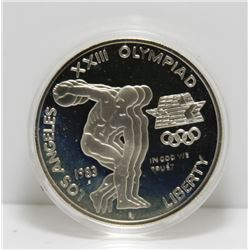1983 USA Olympic Silver Coin in Display Case - .76 tr oz