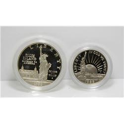 1986 USA Silver Liberty $1 Dollar & Half Dollar Set