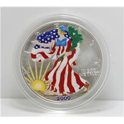 2000 USA Painted Silver Eagle, In Box - 1 tr oz Silver