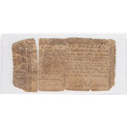 1770 Maryland - USA - $6 Dollar (27 Pound Sterling) Bank Note - AG2 / AG3