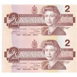 Uncut Pair of 1986 Bank of Canada $2 Bank Notes - G-Unc