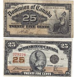 1900 & 1903 Canadian 25-Cent Shinplaster Notes