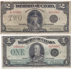 Pair of Dominion of Canada Black Seal Bank Notes - $1 & $2