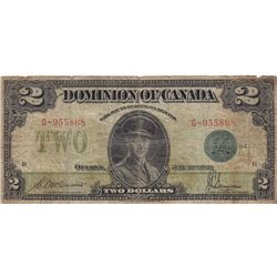 1923 Dominion of Canada $2 Bank Note - VG+ - BLUE