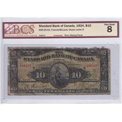 1924 Standard Bank of Canada BCS Graded $10 Bank Note - VG-8