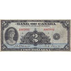 1935 Bank of Canada English Edition $2 Bank Note - F/F+