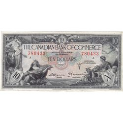 1935 Canadian Bank of Commerce $10 Bank Note - VG-30+