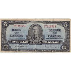RARE 1937 Bank of Canada $5 Bank Note - VG+ - Osborne Signature