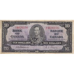 1937 Bank of Canada $10 Bank Note - Rare Osbourne Signature - VG+