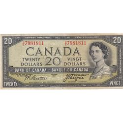 1954 Bank of Canada $20 Devil's Face Bank Note - VF/VF+