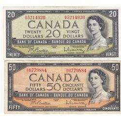 1954 Bank of Canada Modified Portrait $20 & $50 Bank Notes