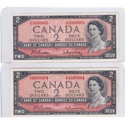 Pair of Amazing 1954 Bank of Canada $2 Radar Bank Notes - Gem UNC