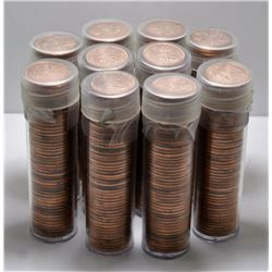 10 Rolls of BU Pennies - Directly from Bank Bag - 1965