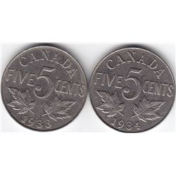 1933 & 1934 Canada 5-Cent Nickel Coins - Both VF+