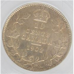 1902-H Canada Double Graded (ICCS & PCGS) Silver 10-Cent Dime Coin - MS-64