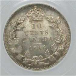 1936 Canada PCGS Graded Silver 10-Cent Dime Coin - MS-65