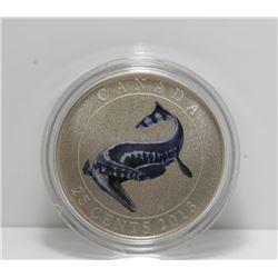 2012 Canada 25-Cent Prehistoric Creatures Coin - Tylosaurus Pembinensis