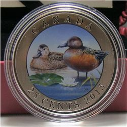 2015 Canada 25-Cent Coloured Coin - Ducks of Canada: Cinnamon Teal