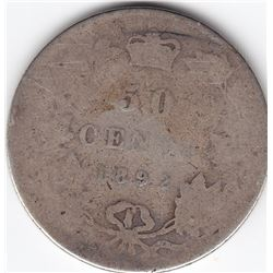 1892 Canada Sterling Silver 50-Cent Half Dollar Coin - Obv 3 - AG-3/G