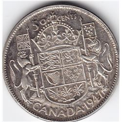 1947 Canada Silver 50-Cent Half Dollar Coin - Curved 7 - EF-45