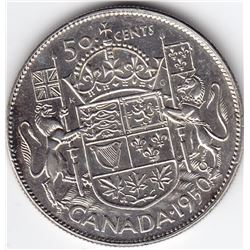 1950 Canada Silver 50-Cent Half Dollar Coin - Low Design - MS-62/63