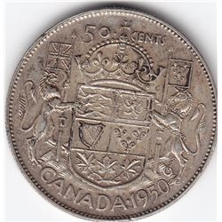 1950 Canada Silver 50-Cent Half Dollar Coin - No Design - Significant Die Crack in Date