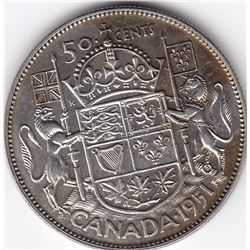 1951 Canada Silver 50-Cent Half Dollar Coin - MS-63+