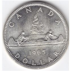 1965 Canada Silver $1 Dollar Coin - Type 5, Medium Bead - MS-63+