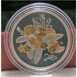 2007 Canada Sterling Silver 50-Cent Coin - Golden Forget-Me-Not