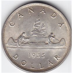 1935 Canada Silver $1 Dollar Coin - MS-63 with Damage