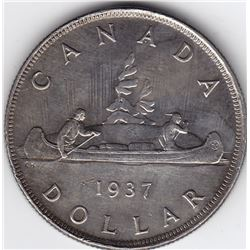 1937 Canada Silver $1 Dollar Coin - 2 x HP - AU Details