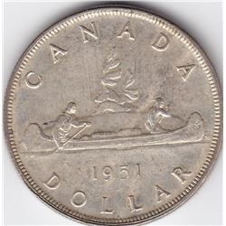 1951 Canada Silver $1 Dollar Coin - SML, EF-45