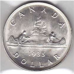 1935 Canada ICCS Graded Silver $1 Dollar Coin - MS-65!