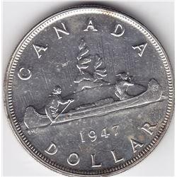 1947 Canada Silver $1 Dollar Coin - Blunt 7 - MS-63+