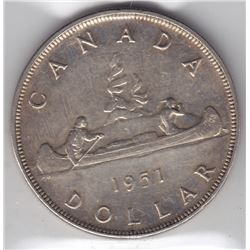 1951 Canada ICCS Graded Silve $1 Dollar Coin - AU-50