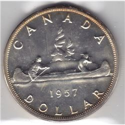 1957 Canada ICCS Graded Silver $1 Dollar Coin - PL-65