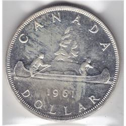 1961 Canada ICCS Graded Silver $1 Dollar Coin - PL-65