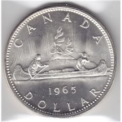 1965 Canada ICCS Graded Silver $1 Dollar Coin - Lg B, Ptd 5 - MS-64 HC