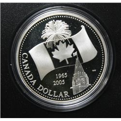2005 Canada Proof Fine Silver $1 Dollar Coin - Canadian Flag