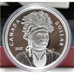 2007 Canada Proof Silver $1 Dollar Coin - Thayendanegea