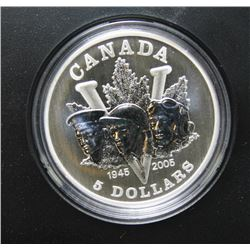 2005 Canada $5 Fine Siver Coin - End of the Second World War