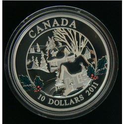 2011 Canada $10 Fine Silver Coin - Winter Town